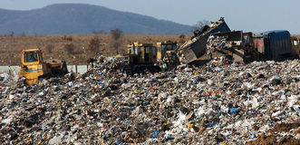 A section of a landfill located in Sofia, Bulgaria. Stock Image