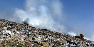 A section of a landfill located in Sofia, Bulgaria. Stock Photography