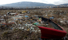 A section of a landfill located in Sofia, Bulgaria. Royalty Free Stock Photos