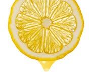 Section Lemon With Drop Stock Photos