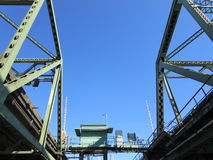 A section of lift bridge on Columbia river. This is a section of lift bridge over columbia river. This bridge opens vertically to give way for ships Stock Image