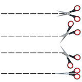 Section lines with scissors, set Royalty Free Stock Images