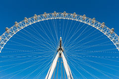 Section of London Eye, ferris wheel, against clear blue sky Royalty Free Stock Image