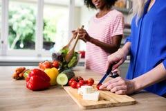Section médiane des amis féminins préparant la nourriture Photo stock