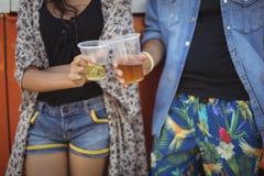 Section médiane des amis grillant la bière Photos stock