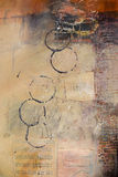 Section of mixed media abstract painting. Highly textured abstract painting by the photographer stock photography