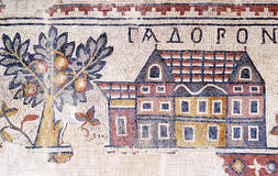Section of mosaic floor exhibited in the Madaba Archaeological Park Stock Photography