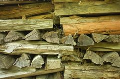 Section of a pile of firewood.  Royalty Free Stock Image