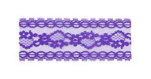 Section purple lace. A close view of a beautiful section of purple floral lace Royalty Free Stock Photo
