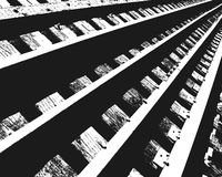 Section of Railroad Tracks. Section of converging railroad tracks in abstract high contrast black and white stock illustration