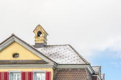 Brick House Home Exterior Tile Roof royalty free stock images