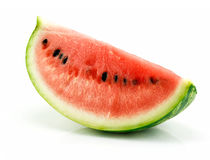 Section of Ripe Sliced Green Watermelon Isolated Stock Photo