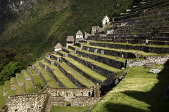 A section of rock terraces at the ruins of Machu Picchu, Peru. Stock Image