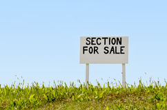 Section for sale sign stock photography