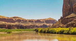 San Juan River Cliffs in Utah. The section of the San Juan River from Bluff, Utah to Mexican Hat, Utah is 27 miles in length and very popular for rafts, canoes stock photo