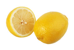 Section and single lemons. Royalty Free Stock Images