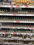 Section of spices in supermarket Stock Image