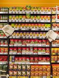 Section of spices in a supermarket Stock Photos