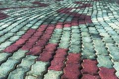 Section of stone concrete pavers. Stock Photo