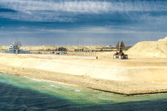 Section of the Suez Canal expansion canal, opened  in August 201 Royalty Free Stock Images