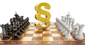 Section symbol on chess board with figures. Law chess concept, 3 Stock Photos
