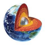 Section transversale de la terre. Version de noyau interne. Image libre de droits
