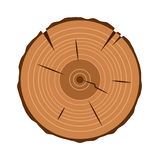 Section transversale de tronc d'arbre, sur le blanc, chemin de coupure inclus Photos libres de droits