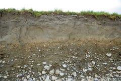 Section transversale des types de sol Photographie stock