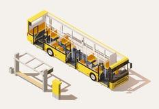 Section transversale isométrique d'autobus de vecteur basse poly illustration stock