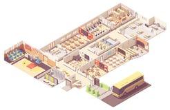 Section transversale isométrique de bâtiment scolaire de vecteur illustration de vecteur