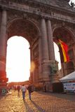 Parc du Cinquantenaire (Park of the Fiftieth Anniversary) in the evening royalty free stock image