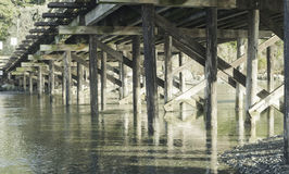 Section view under Small wood Bridge,Vancouver Island Stock Photo