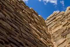 A section of wall at a Native American pueblo, Aztec Pueblo, New Mexico stock image