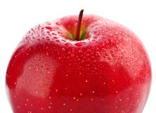 Section of wet red apple isolated Royalty Free Stock Photos