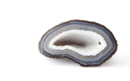 Section of a white and blue geode Stock Photos
