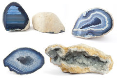 Section of a white and blue geodes Stock Images