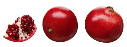 Section and whole fresh pomegranate fruit at different angles. On white background Stock Photography