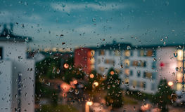 Section - the windows on a rainy day. Royalty Free Stock Photography