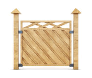 Section of wooden fence on a white background. 3d rendering Stock Photo