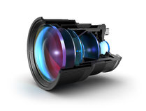Sectional camera lens. 3d image. Over white Royalty Free Stock Photo