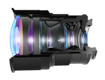 Sectional camera lens, isolated. 3D image Stock Photo