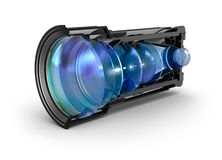 Sectional camera lens view. 3D Royalty Free Stock Photos