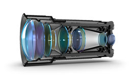 Sectional camera lens view. 3d image Royalty Free Stock Images