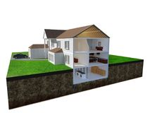 Sectional perspective of a residence. A conceptual sectional perspective  of a residence. The 3d visualization is showing both exterior & interior building Royalty Free Stock Photo