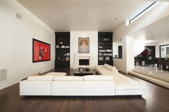 Sectional Sofa In Modern Living Room Stock Photos