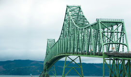 Sectional truss arch bridge at mouth of Columbia River Royalty Free Stock Images