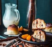Sectional view Cinnabon cinnamon rolls prunes, almonds and manda Stock Photo