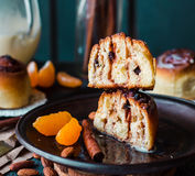 Sectional view Cinnabon cinnamon rolls prunes, almonds and manda Stock Image