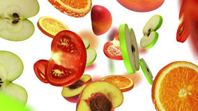 Sections of fruits falling on white background, 3d illustration. Computer-generated image on the theme of healthy eating Royalty Free Stock Photos