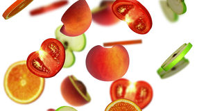 Sections of fruits falling on white background, 3d illustration. Computer-generated image on the theme of healthy eating Stock Images
